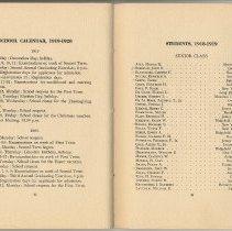 Image of pp 42-43 School Calendar 1919-1920; Students, 1918-1919