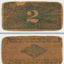 Image of Ticket, 2 cents, Hudson & Manhattan Railroad, n.d., ca. 1911-1927.  - Ticket, Transportation