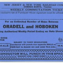 Image of Ticket sample: New Jersey & New York R.R. Weekly Commutation Ticket; Oradell & Hoboken. Unissued. N.d., 1964. - Ticket, Transportation