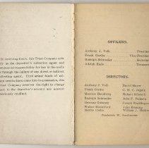 Image of front matter, inside front cover - conditions; pg [1] officers, directors