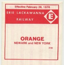 Image of Timetable: Erie Lackawanna Railway, Orange to Newark & N.Y. via Hoboken, eff. Feb. 29, 1976. - Timetable