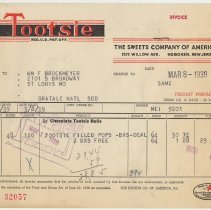 Image of Tootsie invoice March 8, 1939