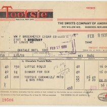 Image of Invoices, 2, for Tootsie Roll products sold by Sweets Co. of America, 1515 Willow Ave., Hoboken, N.J., Feb. 8 & March 8, 1939. - Invoice