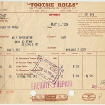 Image of Invoices, 5, for Tootsie Roll products sold by Sweets Co. of America, 414-422 West 45th St., N.Y., N.Y., May 1937. - Invoice