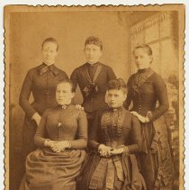 Image of Cabinet photo of 5 young women posed in a studio, Hoboken, n.d., ca. 1880s.  - Photograph, Cabinet