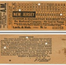 Image of Intrastate refund 5 cent refund coupon, H.& M. R.R. for travel in New Jersey; issued Lackawanna & Hoboken station, ca. 1944-1951. - Ticket, Transportation