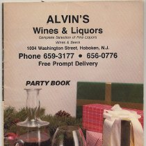 Image of Party Book. Alvin's Wine & Liquors, 1004 Washington Street, Hoboken. Issued late 1984. - Pamphlet