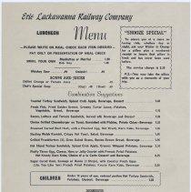Image of Menu: Erie Lackawanna Railway Company, Luncheon Menu. Issued Hoboken, n.d., ca. 1968-1969. - Menu