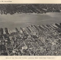 Image of Plate 2 (rotated aerial) Site of Holland Tunnel, Looking West from N.Y.C.