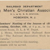 Image of Announcement card for Members' Meeting, Railroad YMCA, Oct. 6, 1896, Lackawanna Terminal, Hoboken. - Announcement