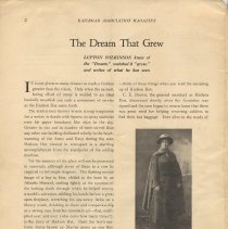 Image of pg 2: article The Dream That Grew; Lupton Wilkinson; photo Mrs. J.W. Wilbur