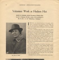 Image of pg 6: article Volunteer Work at Hudson Hut; Mary R. Tooker (photo)