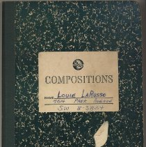 Image of Composition book for AADA classes; belonging to Louie LaRusso, 704 Park Avenue (Hoboken?), Oct. 1957. - Notebook