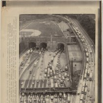 Image of B+W aerial photo of Lincoln Tunnel entrances with traffic during police job action, WeehawkenJuly 20, 1973.  - Print, Photographic