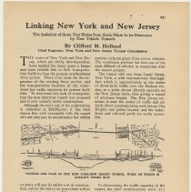 Image of Article [Holland Tunnel]: Linking New York and New Jersey. By Clifford M. Holland; in The American City, Vol. XXIV, no. 3, March 1921. - Article