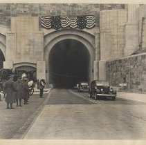 Image of B+W photo of official cars coming out of Lincoln Tunnel, Weehawken, Dec. 21, 1937. - Print, Photographic