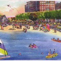 Image of Architect's rendering: Hoboken Cove Beach at Maxwell Place on the Hudson; credit: Magdy S. Barsoum; n.d, ca. 2000-2002. - Print