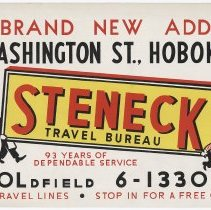 Image of Bus advertisement sign: Steneck Travel Agency, Hoboken, circa 1962. - Sign