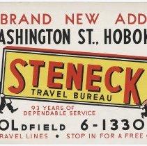 Image of bus advertising sign: Steneck Travel Bureau