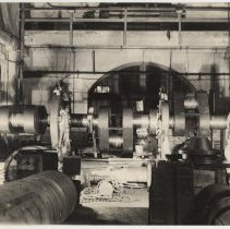 Image of B+W photo of a part being machined at Bethlehem Steel Shipyard, Hoboken, Sept. 14, 1940. - Print, Photographic