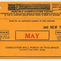 Image of Ticket sample: D.L. & W. R.R. monthly commutation between station to be entered & N.Y.; May 1944. - Ticket, Transportation