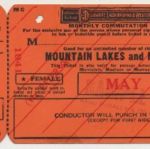 Image of Ticket sample: D.L. & W. R.R. monthly commutation Mountain Lakes & N.Y.; May 1941. - Ticket, Transportation