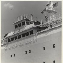 Image of B+W photo of wheelhouse installed on Zim Line container ship at Bethlehem Steel Shipyard, Hoboken, n.d, ca. late 1970s. - Print, Photographic