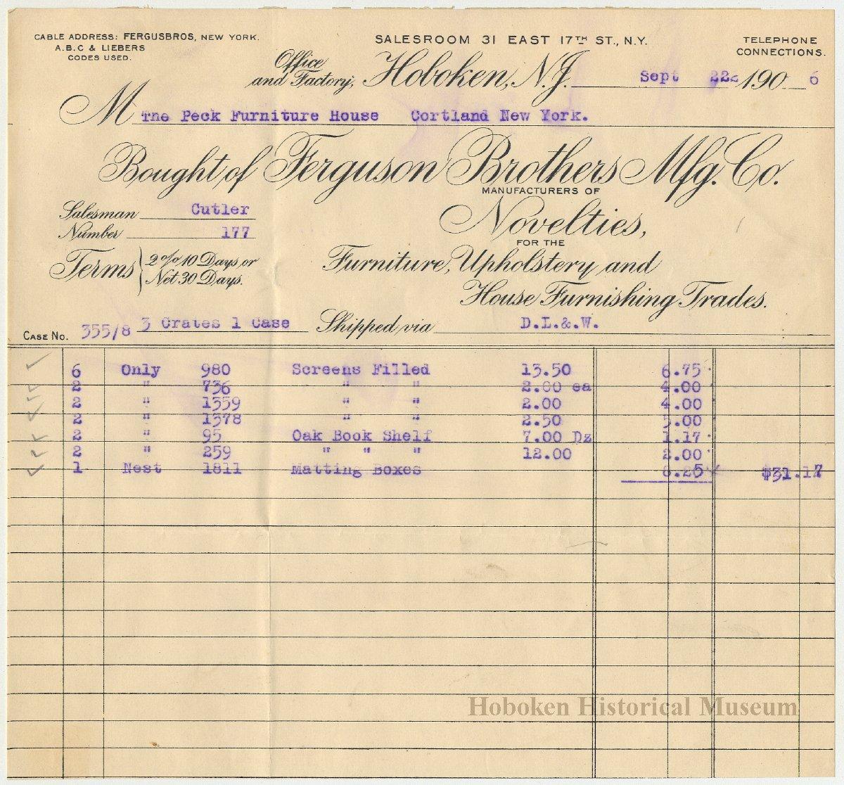 Image Of Bill: Ferguson Brothers Mfg. Co., Office U0026 Factory, Hoboken
