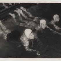 Image of B+W photo of 3 girls in swimming pool at Hoboken Y.M.C.A., Hoboken, n.d., probably 1957. - Print, Photographic