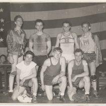 Image of B+W photo of Hoboken YMCA wrestling team, Hoboken, n.d., ca. 1940s.  - Print, Photographic