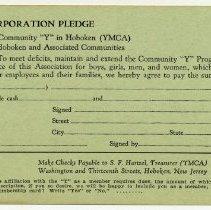 Image of Form, membership: Hoboken YMCA, 13 & Washington Sts., Hoboken, n.d., ca. 1935-1945. - Pledge