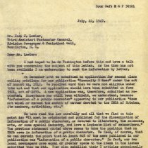 Image of letter 1: July 22, 1947 pg 1 of 2