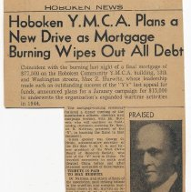 Image of Clipping: Hoboken Y.M.C.A. Plans a New Drive as Mortgage Burning Wipes Out All Debt. Dec. 18, 1943. - Clipping, Newspaper