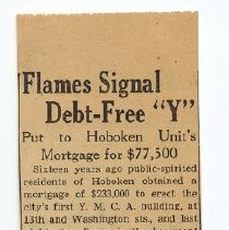 """Image of Clipping: Flames Signal Debt-Free """"Y""""; Put to Hoboken Unit's Mortgage for $77,500. Dec. 18, 1943. - Clipping, Newspaper"""