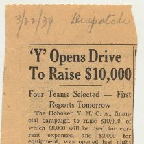 Image of 2: 'Y' Opens Drive to Raise $10,000; March 22, 1939