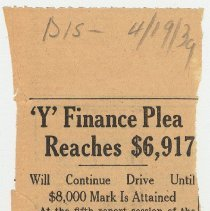 Image of 7: 'Y Finance Plea Reaches $6,917; April 19, 1939