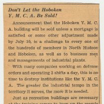 Image of 4: [editorial] Don' t Let the Hoboken Y.M.C.A. Be Sold!; ca. July 1941