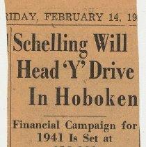 Image of 8: Schelling Will Head 'Y' Drive in Hoboken; Feb. 14, 1941