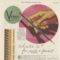 Image of Ad: Venus Pencils, 17 Shades of Black. American Pencil Co., Venus Building, Hoboken, N.J.; Sat. Evening Post, March 29, 1930. - Ad, Magazine