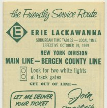 Image of Timetable: Erie Lackawanna Railway, Suburban Time Tables, N.Y.Division, Main Line - Bergen County Line, eff. Oct. 26, 1969. - Timetable