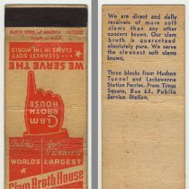 Image of Clam Broth House matchbook cover and inside