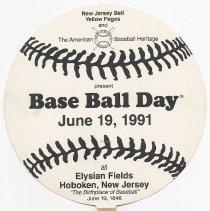 Image of Souvenir hand fan: Base Ball Day, June 19, 1991, at Elysian Fields Hoboken, N.J. - Fan, Hand