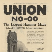 Image of Ad, magazine: Union NO-OO. The Largest Hammer Made ...; Union Iron Works, Hoboken; in Engineering News-Record, Dec. 30, 1920. - Ad, Magazine