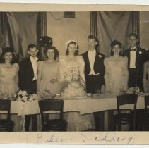 Image of Black-and-white posed photo of wedding party of Eileen (Smith) Thiel & Gene Thiel, n.p., n.d., ca. 1950?  - Photograph