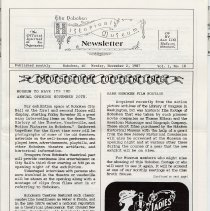 Image of Hoboken Historical Museum Newsletter [First Series], Volume 1, No. 10, November 2, 1987. - Periodical
