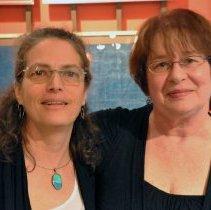 Image of Color photo of Jodie Fink (left) & Jennifer Place at HHM for Upper Gallery artist talk, June 12, 2011. - Photograph
