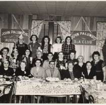 Image of B+W photo of a meeting of John Palumbo's Ladies Auxiliary - Photograph