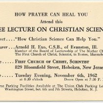 Image of Announcement: lecture at First Church of Christ, Scientist, 829 Bloomfield St., Hoboken, Nov. 6, 1962. - Card, Advertising