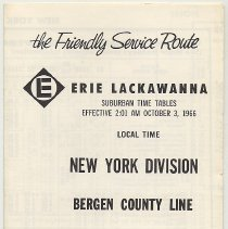 Image of Timetable: Erie Lackawanna R.R., New York Div., Bergen County Line, eff. Oct. 3, 1966.  - Timetable