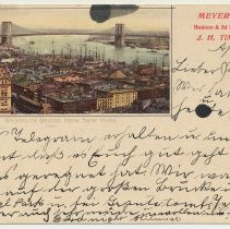 Image of Souvenir postal card, Meyer's Hotel, Hoboken: Brooklyn Bridge from New York. Postmarked Hoboken, April 18, 1899. - Postcard